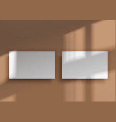 Two business cards overlay shadow from window vector