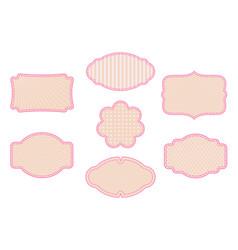 vintage frame set on pattern retro vector image