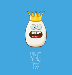White egg king with crown characters isolated on vector