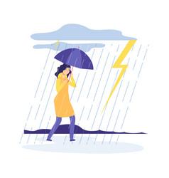 woman rainy day bad weather girl with umbrella vector image