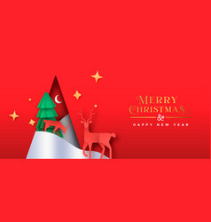 year paper cut pine tree deer banner vector image