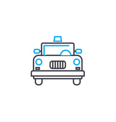 yellow cab thin line stroke icon yellow vector image