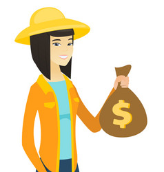 young asian farmer holding a money bag vector image