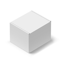 close up white carton box with shadow on white vector image vector image