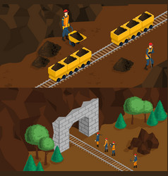 Isometric miners horizontal banners vector