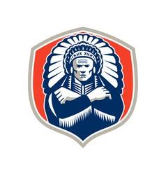 Native American Chief Warrior Headdress Retro vector image vector image