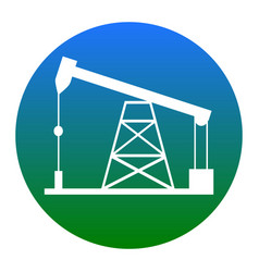 oil drilling rig sign white icon in vector image