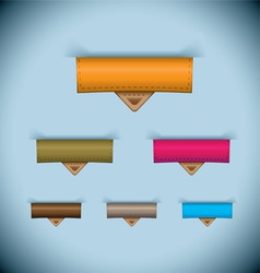paper tab icon leather tag set vector image