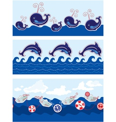 Set of Seamless sea borders with dolphins whales vector image