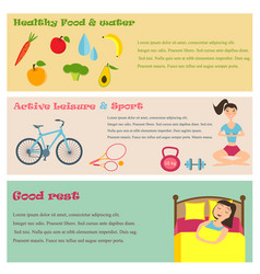 three banners of healthy lifestyle icons vector image vector image
