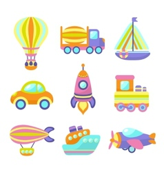 Transport Toys Icons Set vector image vector image