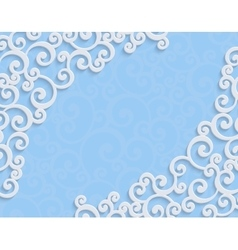 Blue 3d Vintage Invitation Card with Floral vector image