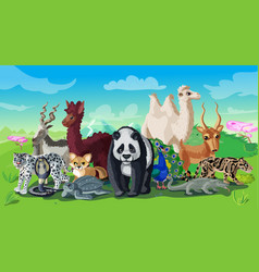 cartoon asian animals template vector image