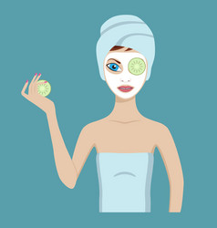 cute girl in a cosmetic mask vector image