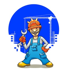 funny smiling builder vector image