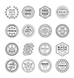 Handmade Emblems Linear Set vector image