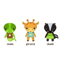 Safari giraffe and lizard snake baby skunk icons vector image vector image