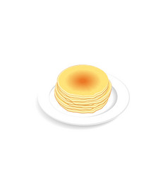 stack of fluffy and fresh pancakes on plate vector image