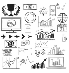 Business finanse hand draw doodle elements graph vector image vector image
