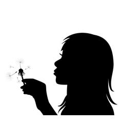 Girl blowing the dandelion vector