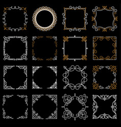 set decorative vintage frames in mono line style vector image
