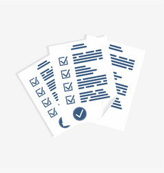 survey form paper sheets exam form checklist for vector image vector image