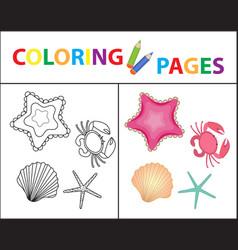 Coloring book page sea set star shell crab vector