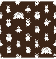 farm animals simple icons seamless pattern eps10 vector image