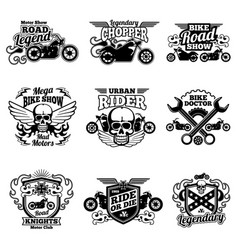 Motorbike club vintage patches motorcycle vector