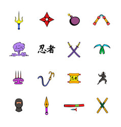 ninja weapon icons set cartoon vector image vector image