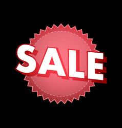 sale sticker in red color on black vector image