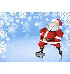 skating santa vector image vector image