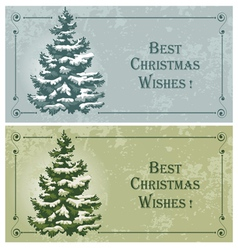 vintage christmas cards with spruce in the snow vector image