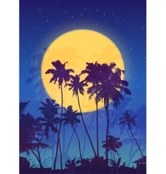 Yellow moon with dark blue palm silhouettes poster vector