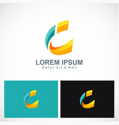 3d letter c technology logo vector