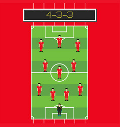 4-3-3 soccer formation with man player in pitch vector