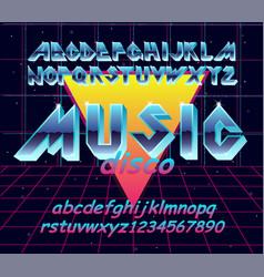 80 s retro alphabet font typography vector