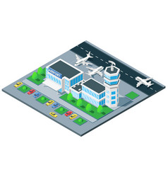 Airport exterior isometric view vector