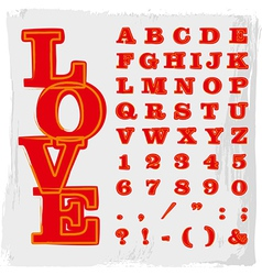 Alphabet painted in red vector image