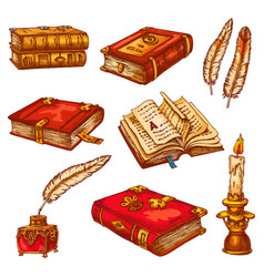 Ancient old books poetry literature sketch vector