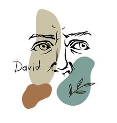 Art head david michelangelo 5 vector