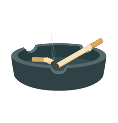 Ashtray with cigarettes smoked butt stub vector