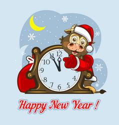 Baby bull in santa claus clothes shows clock vector