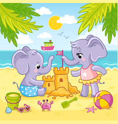 Baby elephants are playing in sand vector