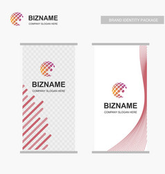 banner of a company with world map logo and its vector image