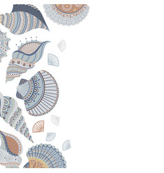 Banner template with seashells vector