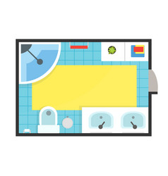 bathroom modern interior top view detailed vector image