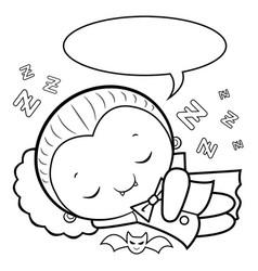 Black and white dracula mascot sleeps halloween vector