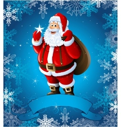Blue Christmas greeting card with santa claus vector image