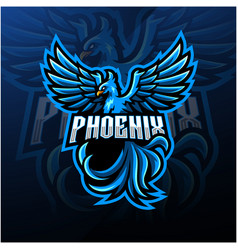 Blue phoenix esport mascot logo design vector